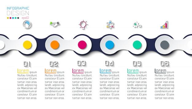 Siete círculos con infografías de iconos de negocios.