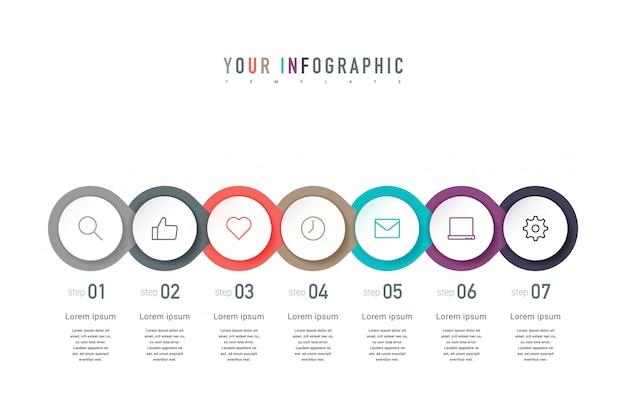 Siete elementos coloridos, pictogramas de líneas finas, punteros y texto. diseño de concepto de infografía con 7 pasos sucesivos.