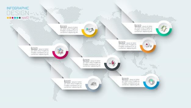 Siete etiquetas con infografías de iconos de negocios.