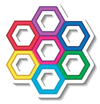 Siete formas hexagonales coloridas