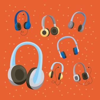 Siete iconos de dispositivos de auriculares