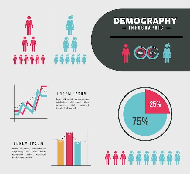 Siete iconos de infografía de demografía