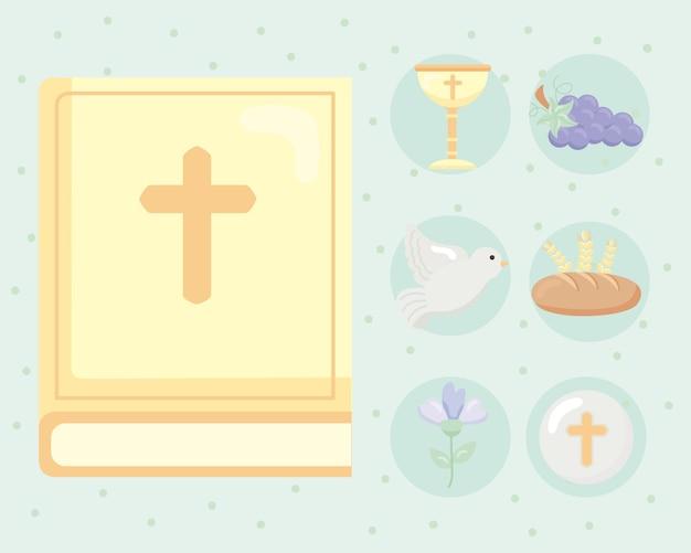Siete iconos de set de primera comunión