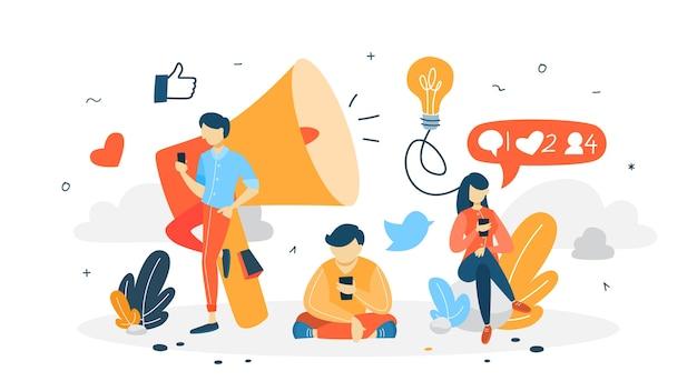 Siga el concepto. publique contenido en las redes sociales usando un teléfono inteligente. me gusta y comenta. recibir comentarios. ilustración