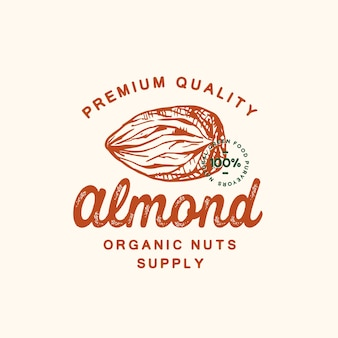 Signo abstracto de almendra de calidad premium