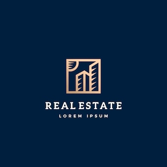 Signo abstracto de bienes raíces, símbolo o plantilla de logotipo.
