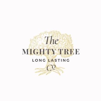 Signo abstracto de la compañía de larga duración del árbol poderoso