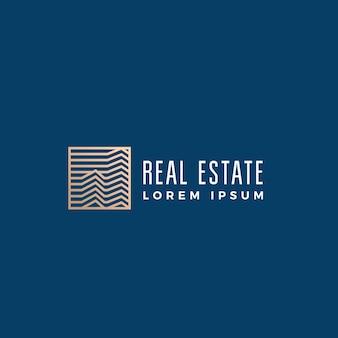 Signo abstracto lineal de bienes raíces, símbolo o plantilla de logotipo.