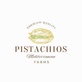 Signo abstracto de pistachos de calidad premium