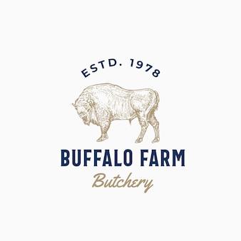 Signo abstracto, símbolo o logotipo de buffalo farm butchery.
