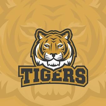Signo abstracto de tigres, emblema o logotipo