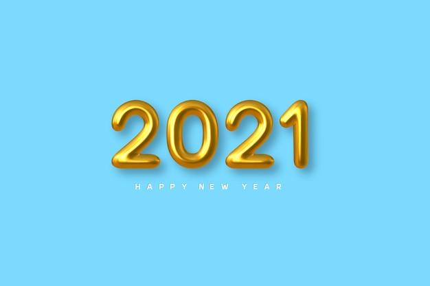 Signo de año nuevo 2021. números de oro metálicos 3d sobre fondo azul. oro realista 2021.