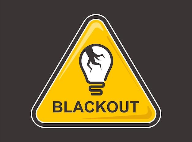 Signo de apagón amarillo sobre un fondo azul. ilustración vectorial plana