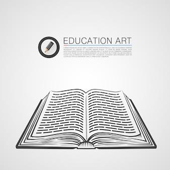 Signo de arte de bosquejo de libro abierto. ilustración vectorial