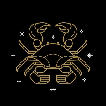 Signo astrológico de cáncer de oro sobre un fondo negro