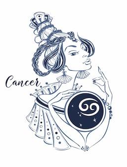 Signo astrológico de cáncer como una hermosa niña