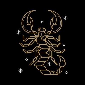 Signo astrológico de escorpio de oro sobre un fondo negro