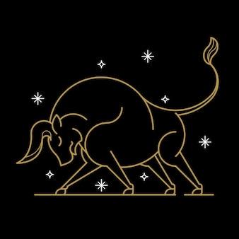 Signo astrológico de tauro de oro sobre un fondo negro