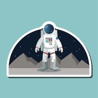 Signo de astronauta concepto de espacio cosmos, ilustración vectorial