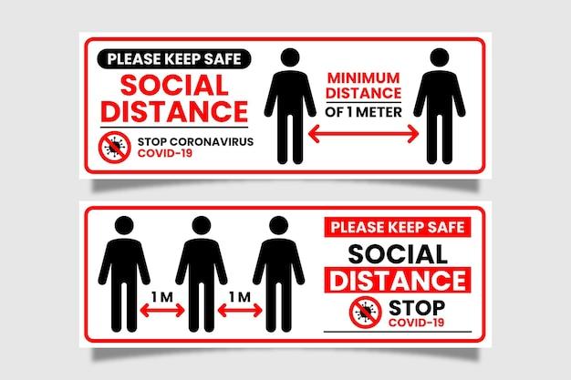 Signo de banner de distancia social