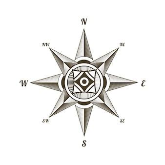Signo de brújula antiguo náutico.