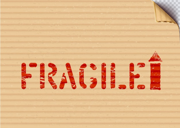Signo de caja de carga frágil de grunge de vector con flecha sobre fondo de papel cartón para logística. significa de esta manera, manipúlelo con cuidado. ilustración vectorial