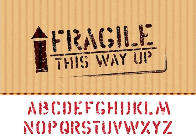 Signo de caja frágil de grunge con flecha hacia arriba en una pieza de cartón para logística o carga y alfabeto. significa de esta manera, manipúlelo con cuidado. ilustración vectorial