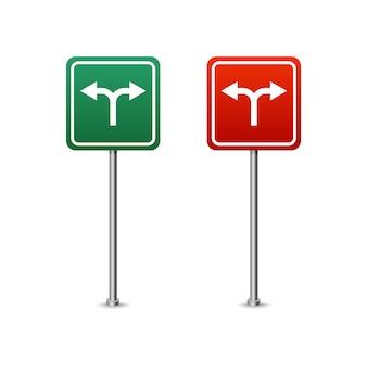 Signo de carretera verde y rojo con tablero de flechas. ilustración de vector aislado sobre fondo blanco