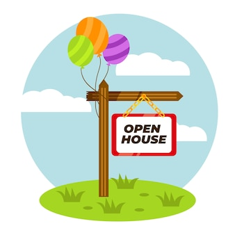 Signo de casa abierta de bienes raíces con globos
