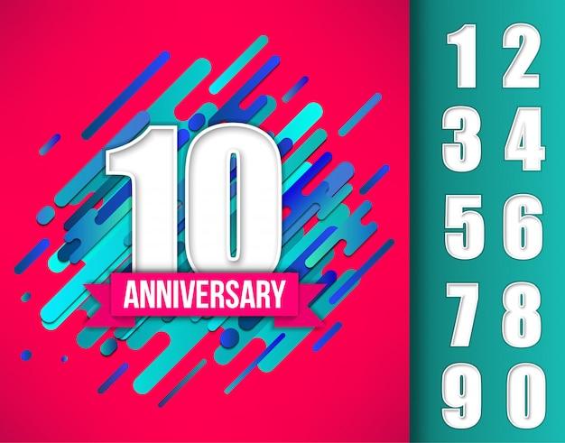 Signo de celebración de aniversario con diferentes fechas.
