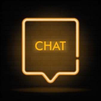 Signo de chat de marco de neón en forma de cuadrado.