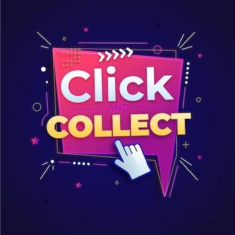 Signo de clic y recopilación detallado
