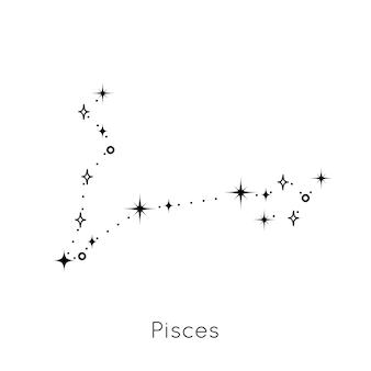 Signo de la constelación del zodíaco símbolo del horóscopo astrológico de piscis en el vector de fondo blanco