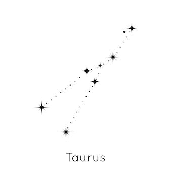 Signo de la constelación del zodíaco tauro símbolo del horóscopo astrológico en el vector de fondo blanco