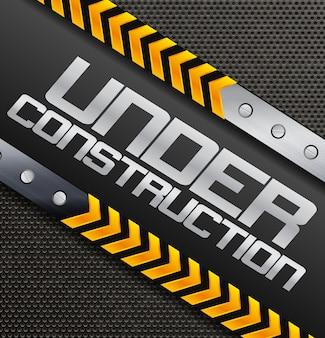 Bajo signo de construcción sobre un fondo con textura