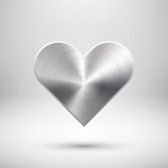 Signo de corazón abstracto con textura de metal
