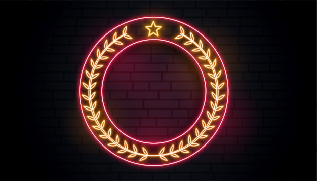 Signo de corona de laurel de neón