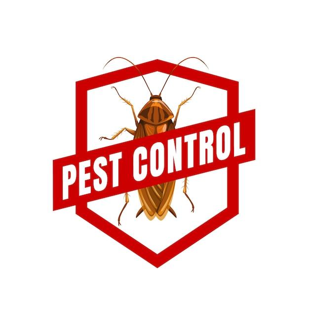 Signo de cucaracha de icono de vector de control de plagas