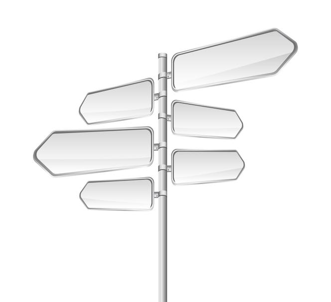 Signo de carretera en blanco aislado sobre vector de fondo blanco