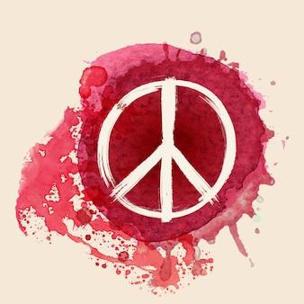 Signo de la paz en el fondo de splat de tinta de color rojo agua