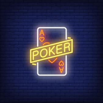 Signo de neón del póker