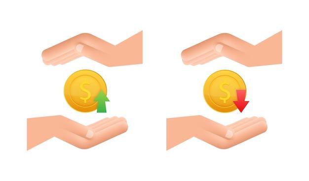 Signo de dólar hacia arriba y hacia abajo en manos sobre fondo blanco. ilustración de stock vectorial.