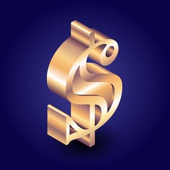 Signo de dólar isométrico de oro en fondo oscuro