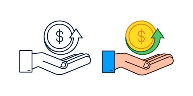 Signo de dólar en manos sobre fondo blanco. ilustración de stock vectorial.