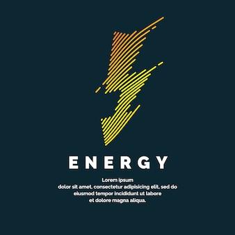 El signo de la energía. la cremallera de color de las líneas dinámicas sobre un fondo oscuro. ilustración vectorial brillante