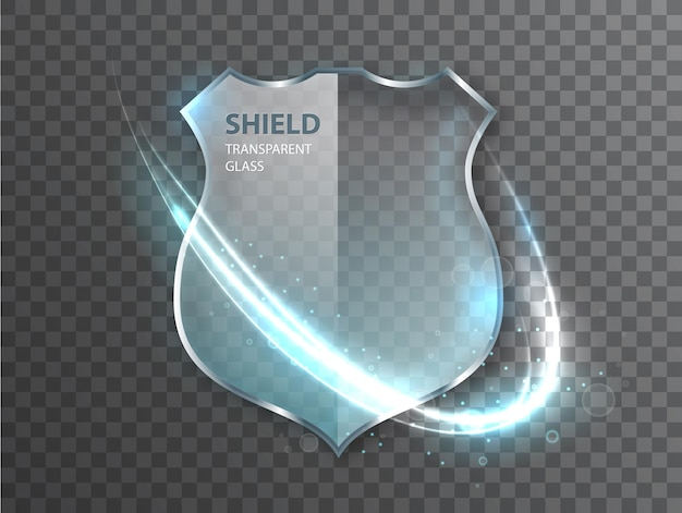Signo de escudo de vidrio sobre fondo transterent. icono de protección de placa de seguridad. signo de salvaguardia de defensa.