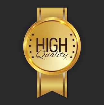 Signo de etiqueta dorada de alta calidad.
