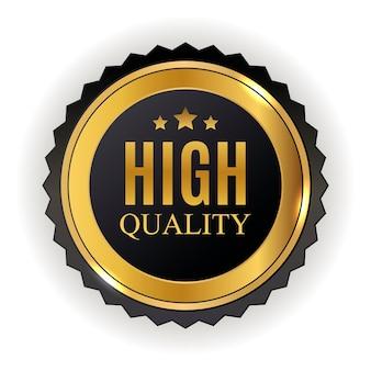 Signo de etiqueta dorada de alta calidad