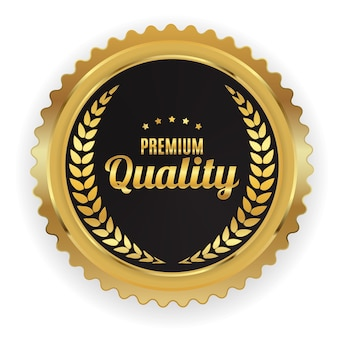 Signo de etiqueta dorada de calidad premium.
