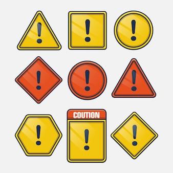 Signo de exclamación cuidado con el conjunto de signos